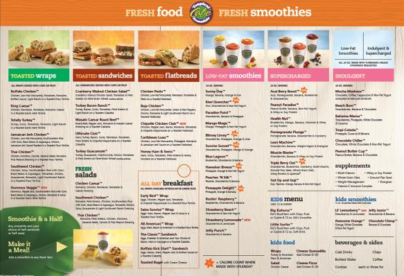New Tropical Smoothie Menu
